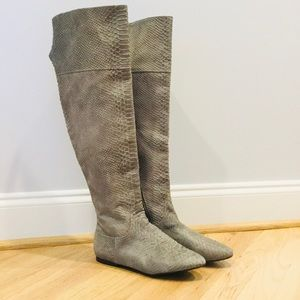 Zara over the knee snake embossed flat boots